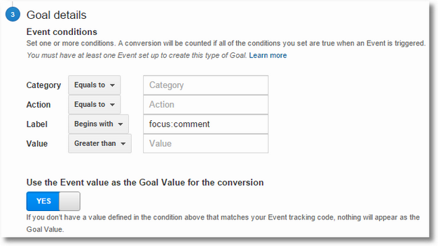 google analytics events goal detail