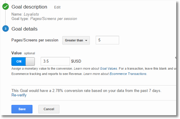 google analytics pageviews goal setup
