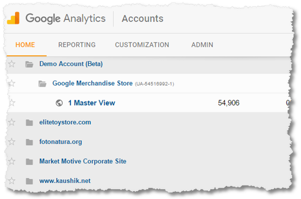google analytics accounts view